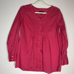 Lands End hot pink pin tucked cotton tunic top MP